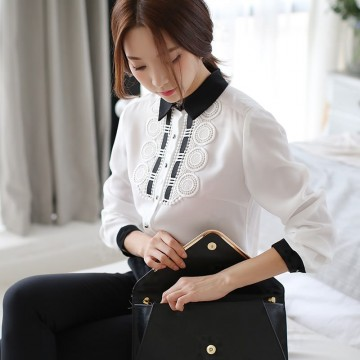 TE6893SOLO Spring style slim contract color embroidery shirt