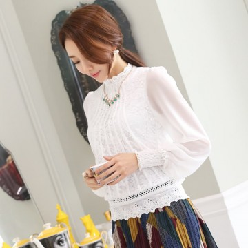 TE6976SOLO Spring style stand collar lace long sleeve shirt
