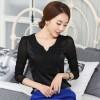 TE6996SOLO Spring style slim v-neck lacing splicing chiffon shirt