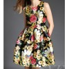 TE7347SYF Europe fashion chrysanthemum print slim wait sleeveless dress