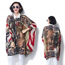 TE7382HSJP Korean fashion slim print chiffon large size blouse