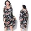 TE7397HSJP Europe fashion trendy print chiffon large size dress