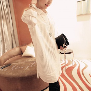 TE8019QPG Spring fashion fresh white long blouse