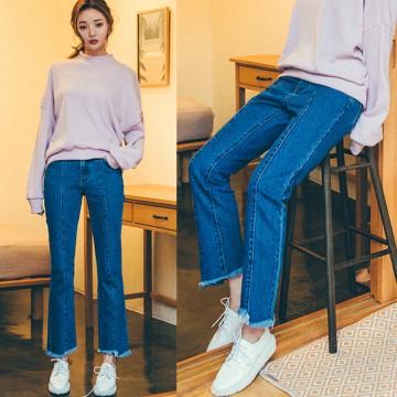 TE8028KOKO New style irregular leg opening bell-bottoms jeans