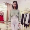 TE8032DDLY Round neck off shoulder pullover temperament pure color chiffon shirt