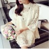 TE8035HYG Round neck hollow out lace dress with inner vest