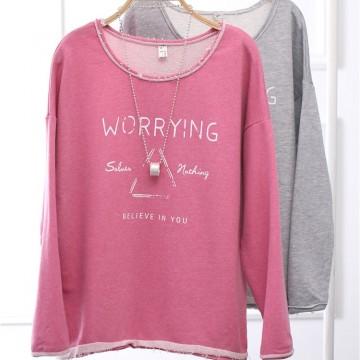 TE803LLJ Simple casual letters print loose batwing sleeve sweatshirt