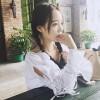 TE8049ZYKJ Korean fashion flouncing collar lacing sleeve white shirt
