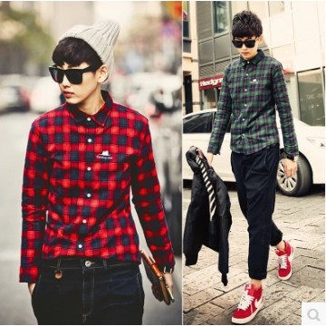 TE807WSCP Fashion men's thicken checks embroidery trendy shirt