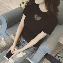 TE8121MHYR Korean mesh heart pure color round neck t-shirt