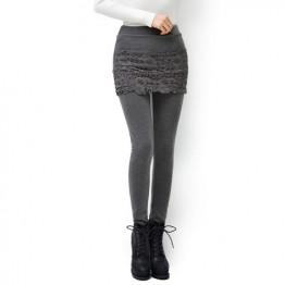 TE8132HMY Lace splicing slim fake two piece legging