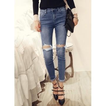 TE8252XXFS Korean street fashion slim holes pencil jeans