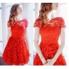 TE8713EQFS Hot sale Europe fashion round neck lace dress
