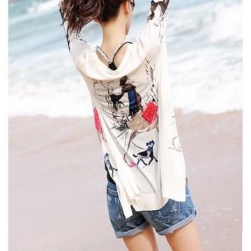 TE8830QQFS Print sunscreen knitting long cardigan