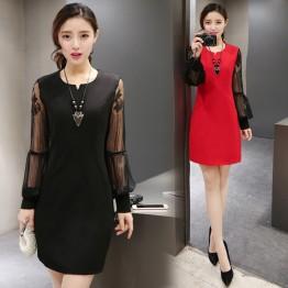 TE8835YZX Spring fashion grenadine sleeve slim dress