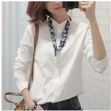 TE8021OYH New style half collar bow tie white shirt