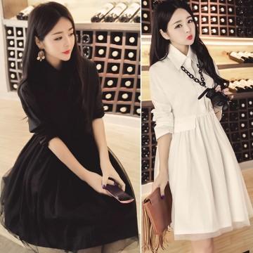 TE9576YZX Plus size elastic waist loose dress