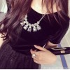 TE8911HLL Temperament corduroy splicing bubble dress