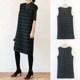 TE8935HYG Korean spring fashion contract color v-neck woolen sleeveless dress