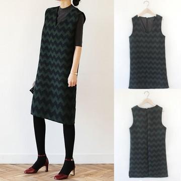 TE8935HYG Korean spring fashion contract color v-neck woolen sleeveless dress