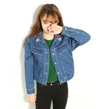TE9013PPNZ Vintage embroidery collar denim jacket