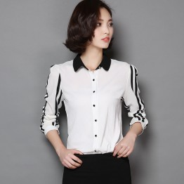 TE9071YFND Korean style stripes sleeve slim blouse