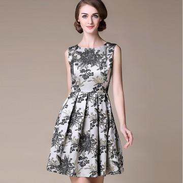 TE9099LLYG Europe fashion embroidery gold silk jacquard sleeveless dress