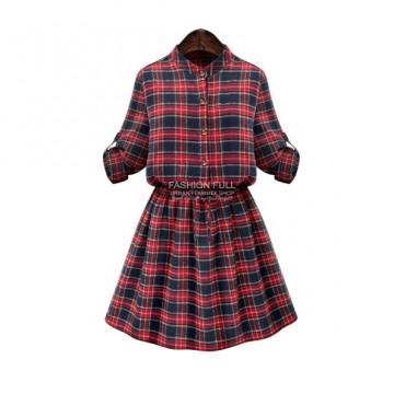 TE9360MG Europe fashion plus size checks slim waist dress