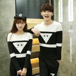 TE9597CYG Spring fashion casual long sleeve couple t-shirt