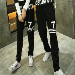 TE9600CYG Joker number 7 print casual couple pants