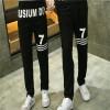 TE9600CYG Joker number 7 print casual couple pants
