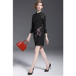 TE9641LLYG New style chinese collar lace splicing plum blossom print dress