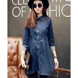 TE9811PPNZ Korean fashion lapel flouncing denim dress