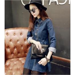 TE9811PPNZ Korean fashion lapel flouncing denim dress