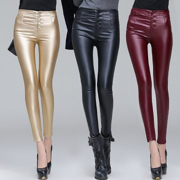 TE9835HDYY New style slim coating PU legging