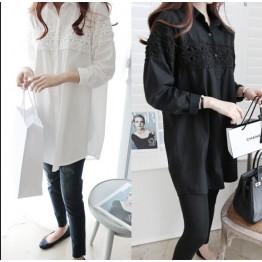 TE8453XNE Plus size lace splicing loose long blouse