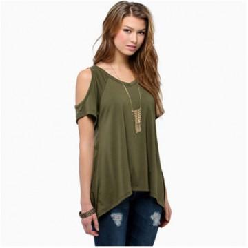 TEB283FPFS Off shoulder v-neck fishtail t-shirt