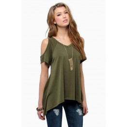 TEB283FPFS Off shoulder v-neck fishtail t-shirt