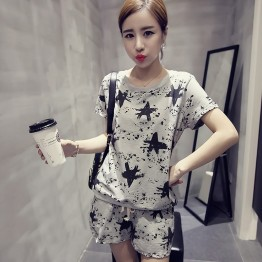 TEF295LFGG Loose slim stars print casual round neck t-shirt with shorts