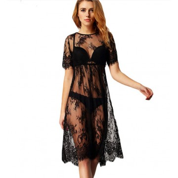 TE0882DNFS Hot sale transparent lace swimsuit smock dress