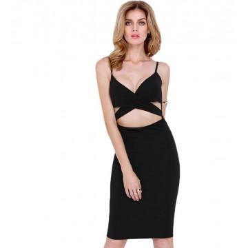 TE0884DNFS New style fashion waist hole slim deep v neck dress