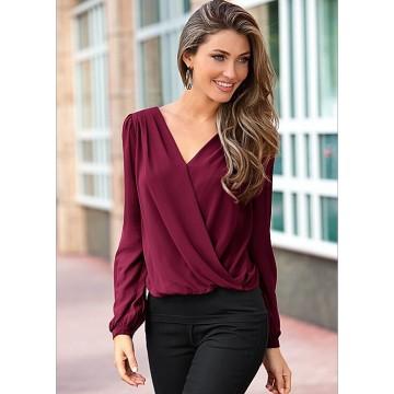 TE0886DNFS Hot sale lace back chiffon splicing cross pure color joker shirt