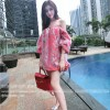 TE1045XWFS Summer organza splicing print chiffon boat neck doll dress