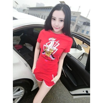 TE1047XWFS Korean fashion simple cartoon print casual t-shirt with shorts