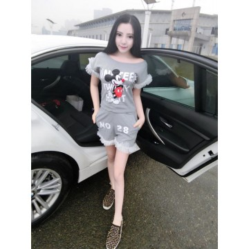 TE1048XWFS Boat neck lace splicing cartoon print t-shirt with shorts