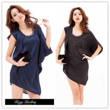 TE1270GJWL Korean fashion oblique shoulder irregular shirt