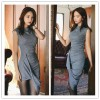 TE1274GJWL Korean style fashion slim stand collar sleeveless irregular dress