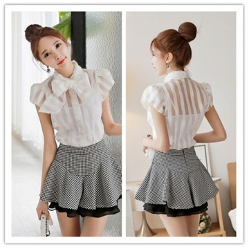 TE1459GJWL Sweet Korean fashion puff sleeve bowknot neck stripes shirt
