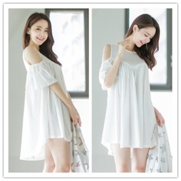 TE1450GJWL Combed cotton fashion loose comfortable off shoulder tassel dress