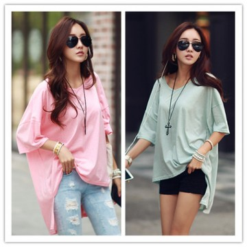 TE1282GJWL Fashion loose comfortable irregular joker long t-shirt
